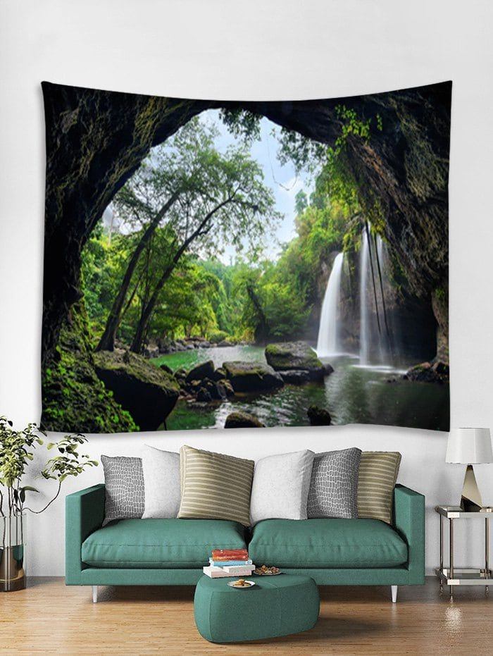 cae5bbfa8e Deep Forest Waterfall Scenery Printed Wall Art Tapestry - DARK FOREST GREEN  W59 INCH   L79 INCH