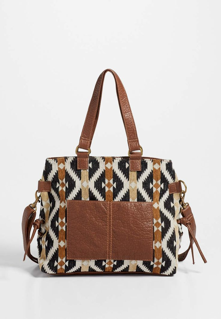 faux leather and ethnic print fabric bag | maurices