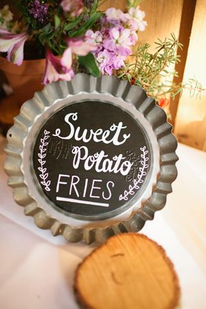 painting old plates or metal cookie sheets with chalk board paint. Something more interesting for signs