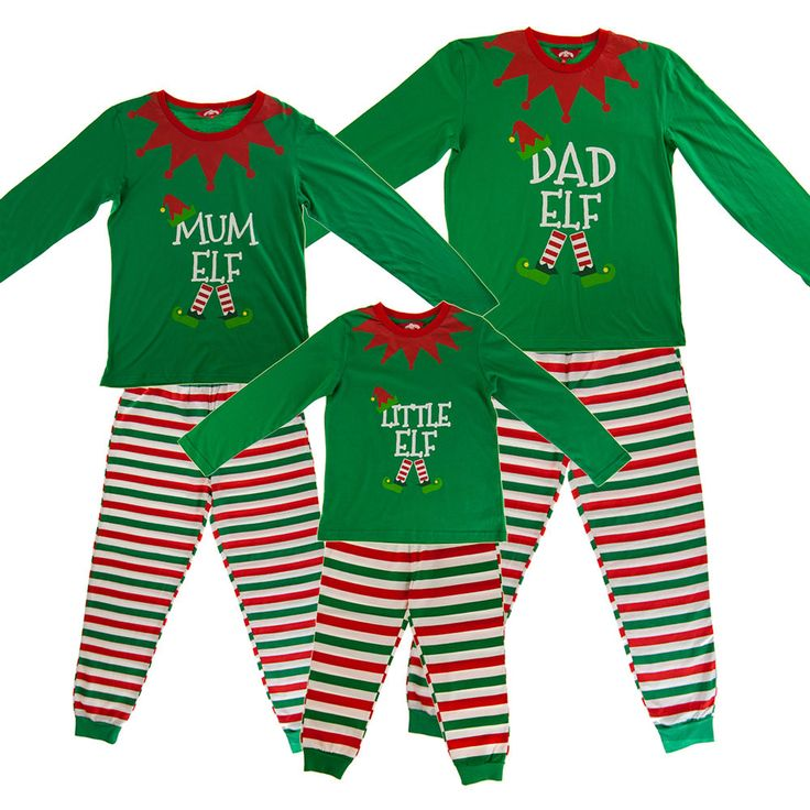 Christmas+Green+Elf+Pyjamas+PJs+Family+Kids+Boys+Girl+Xmas+Elves+Novelty+PJ+Sets
