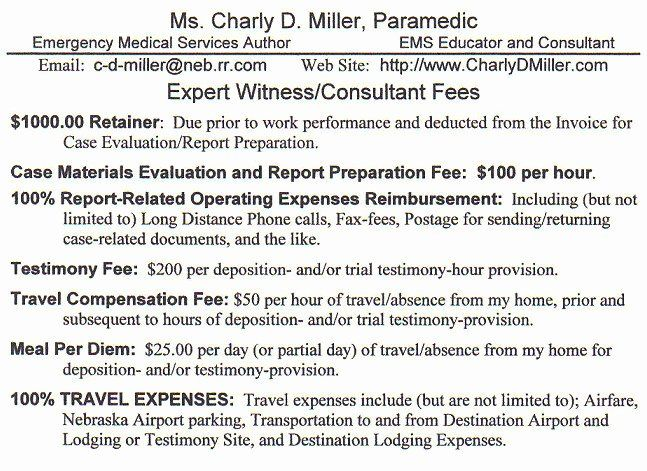 consultant fee schedule template new expert witness fee