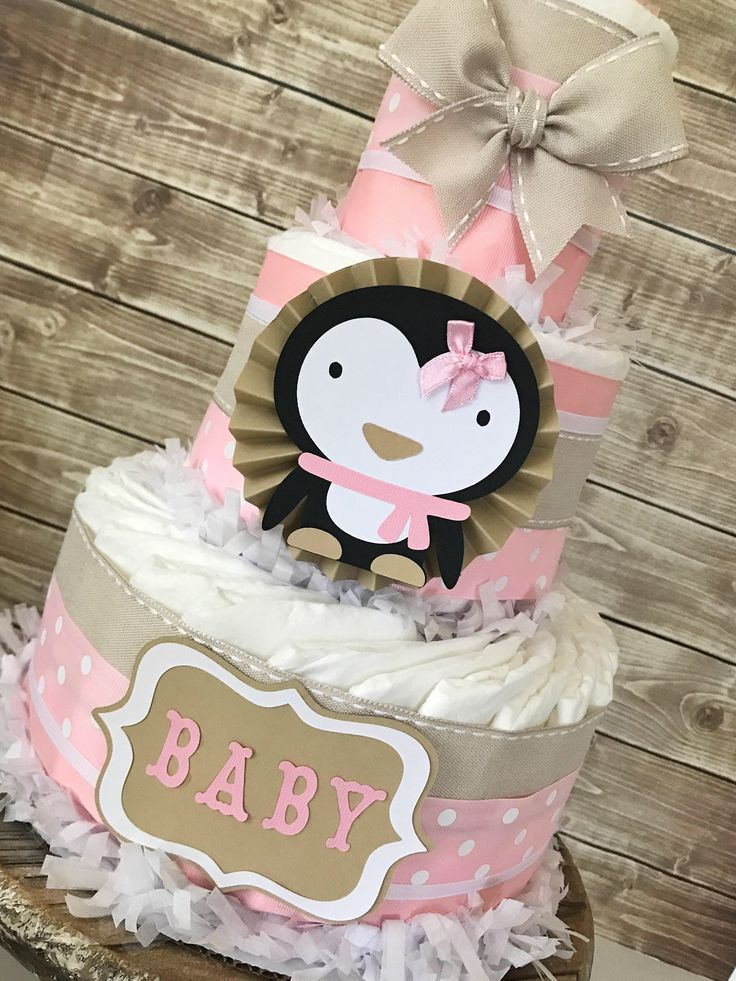 Penguin Diaper Cake in Mocha, Pink and White, Penguin Baby Shower Centerpiece for Girls, Winter Theme Baby Shower Decorations by AllDiaperCakes on Etsy https://www.etsy.com/listing/545769034/penguin-diaper-cake-in-mocha-pink-and
