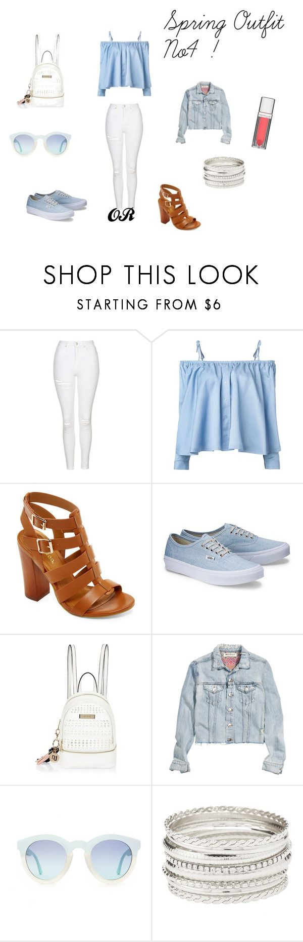 Spring Outfit No4 by vas0an on Polyvore featuring Sandy Liang, H&M, Topshop, Bamboo, River Island, Charlotte Russe and Maybelline