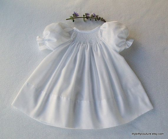 Smocked baby infant toddler bishop dress white by ittybittycouture, $48.00