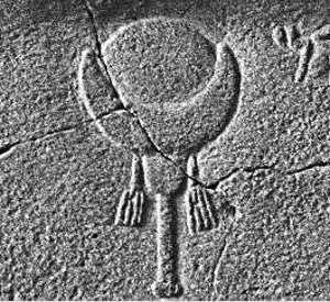 Simbolo egizio del dio Baal, con sole o luna nascente - Immagine in pubblico dominio, fonte Wikimedia Commons