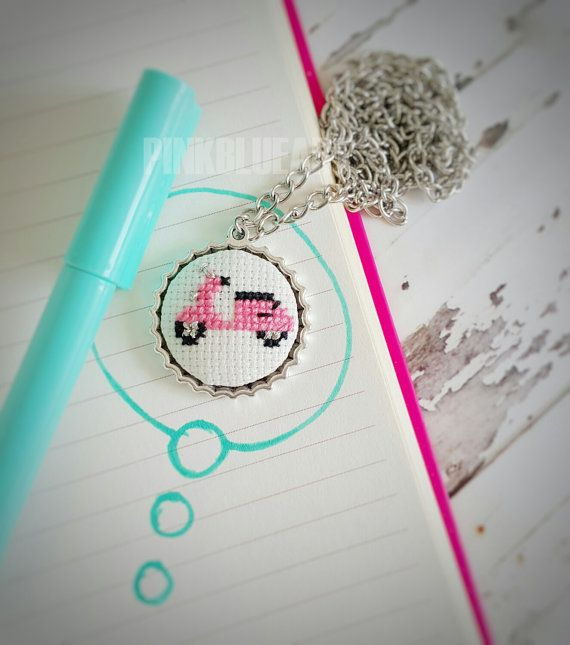 Pink Vespa Cross Stitch Necklace Embroidered by PINKBLUEART