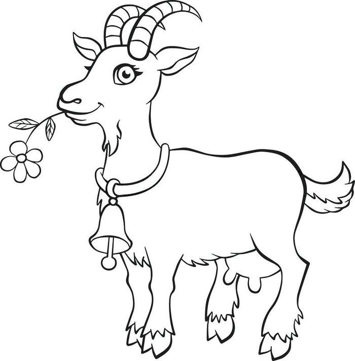 Cute Goat Coloring Pages In 2020 Animal Coloring Pages Cute Goats Shape Coloring Pages