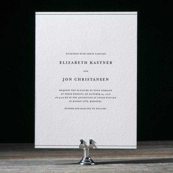 Designed by Amanda Jane Jones of Kinfolk, Simple Elegance is a minimalist letterpress wedding invitation with modern style and foil stamped envelope liners.