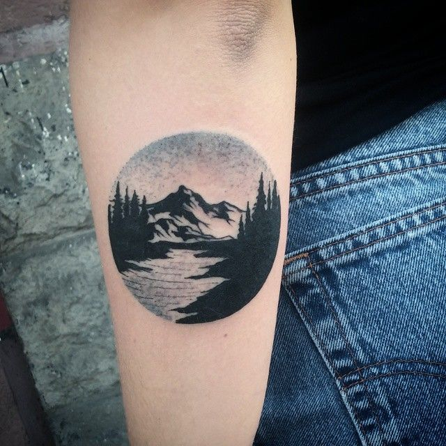 I like this idea, but more vibrant colors. Mountain tattoo by Tobias Schneider.