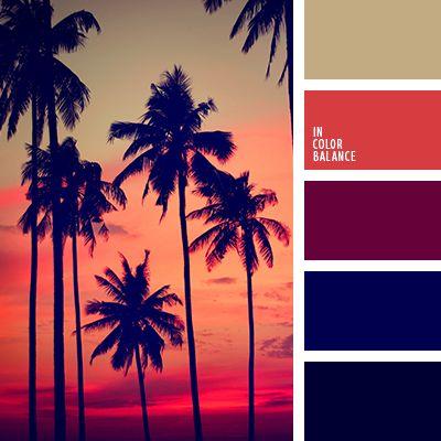 алый, бордовый, вишневый, горчичный цвет, коричневый, оттенки заката, полуночно-синий, темно-синий, цвет заката, цвет заката на море, цвета заката, яркий красный.