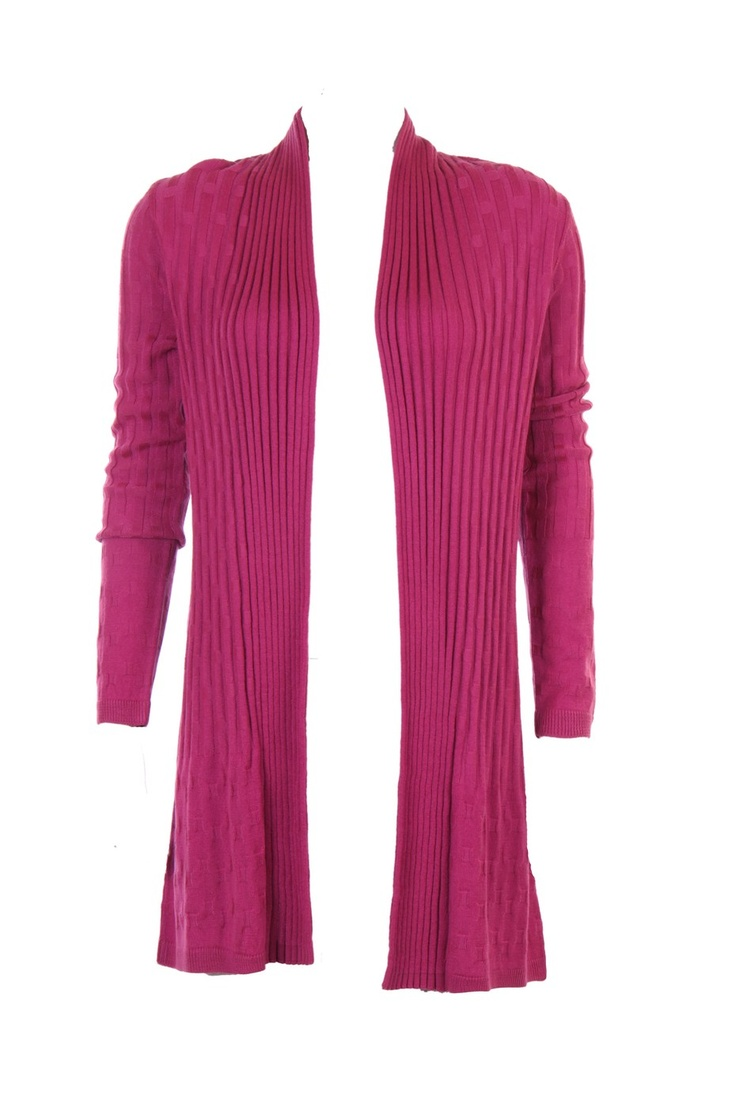 """""""Structured Cardigan With Sqaured Patterns In Raspberry Colour; 100% Soft Acrylic; 33.5 """" Inches N Length"""" Outer Wear #Clothing #Fashion #Style #Wear #Colors #Apparel #SemiFormal #Casuals #W for #Woman"""