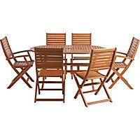 Peru 6 Seater Oval Wooden Garden Furniture Set