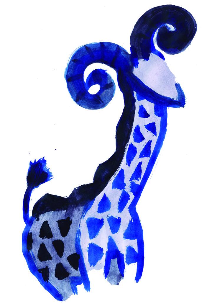 """Fusión de animales 09 """"Kabraffé fanático de Garrus"""" en tinta china."""