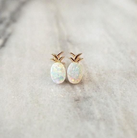Pineapple Crystal Ear Studs 925 Sterling Silver For Women and Girls