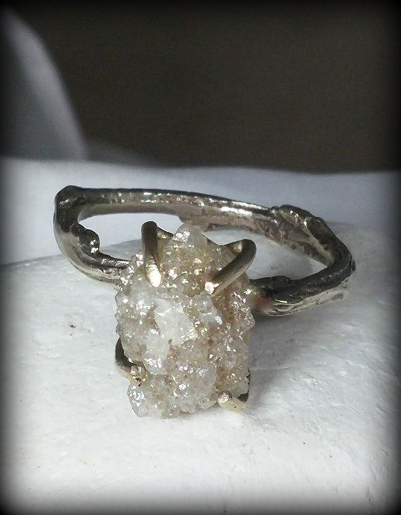 Huge Raw Diamond Engagement Ring White Gold And By Earthdiamond