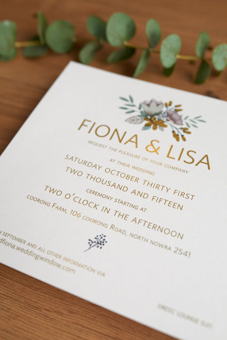 Green & gold wedding invitation Country, floral, gold!