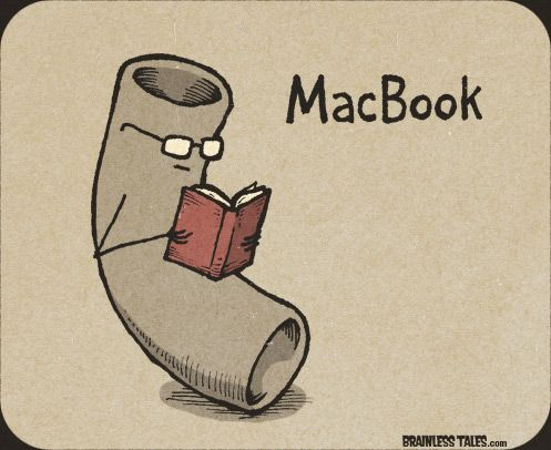 Haha.  I love puns on computer stuff.  My sister didn't get it, so, just so you know, it's a piece of macaroni reading a book.   :)