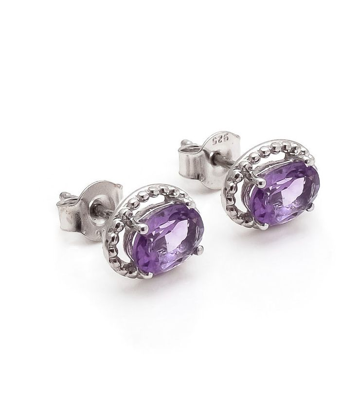 Amethyst Earring Natural Gemstone Prong Set in Solid 925 Sterling Silver SDE34 #Rananjay #StudEarrings