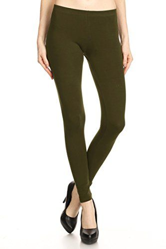 Leggings Mania Solid Colored Tights Cotton Spandex Leggings Olive 1X -- To view further for this item, visit the image link.