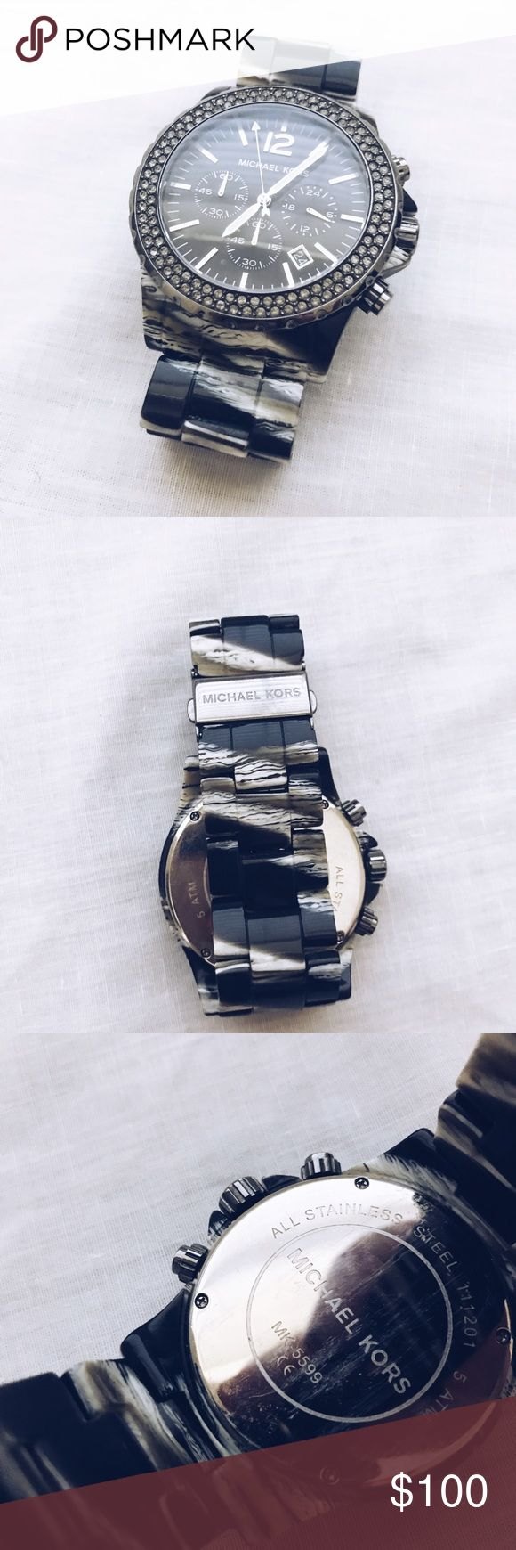 Michael Kors black marble watch Black and white Michael Kors watch in good condition. Battery needs to be replaced. Michael Kors Accessories Watches