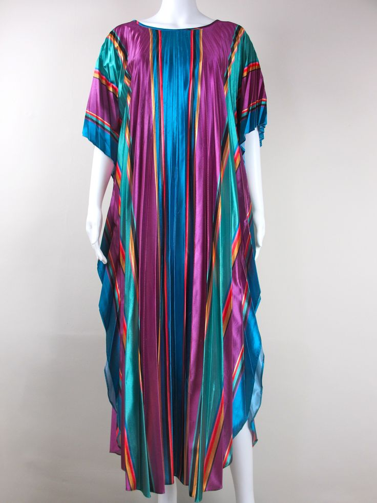 70s Technicoloured Pleated Kaftan