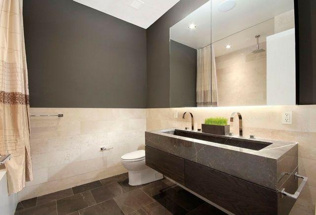 salle de bain avec déco bicolore