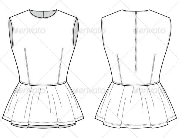 Fashion Flat Sketches for Leather Peplum Top - Man-made objects Objects