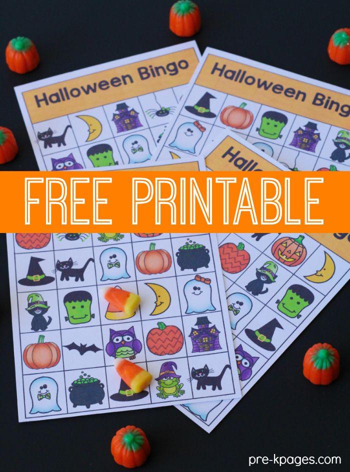 Printable Halloween Bingo Game for Preschool and Kindergarten