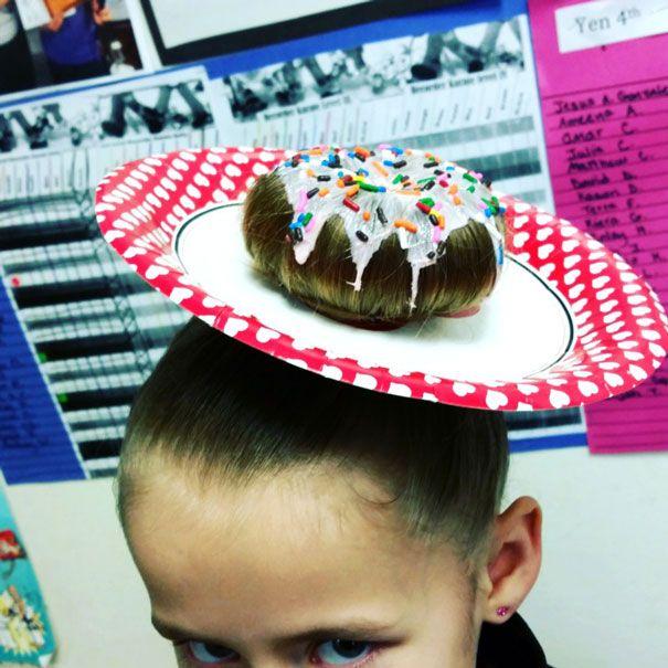 Crazy Hair Day. Lots of cute ideas! Cupcake buns, doughnut bun, soda ponytail.