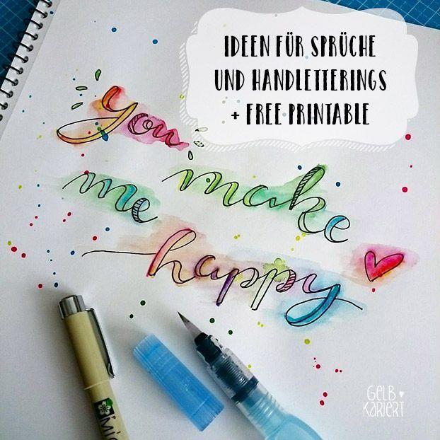 Ideen für Handlettering | Sprüche | Hand Lettering | Printable | DIY…