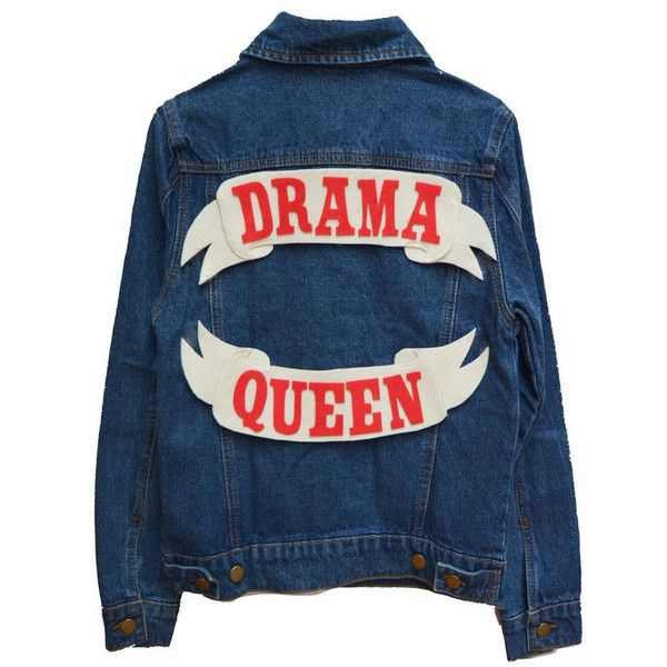 Drama Queen Denim Jacket (4.700 UYU) ❤ liked on Polyvore featuring outerwear, jackets, tops, blue jackets, blue jean jacket, cotton jacket, denim jacket and jean jacket