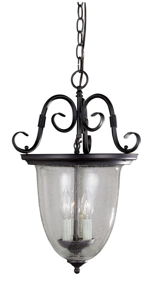 Suspension à 3 lampes au fini rouille de la Collection Cardiff, avec verre texturé