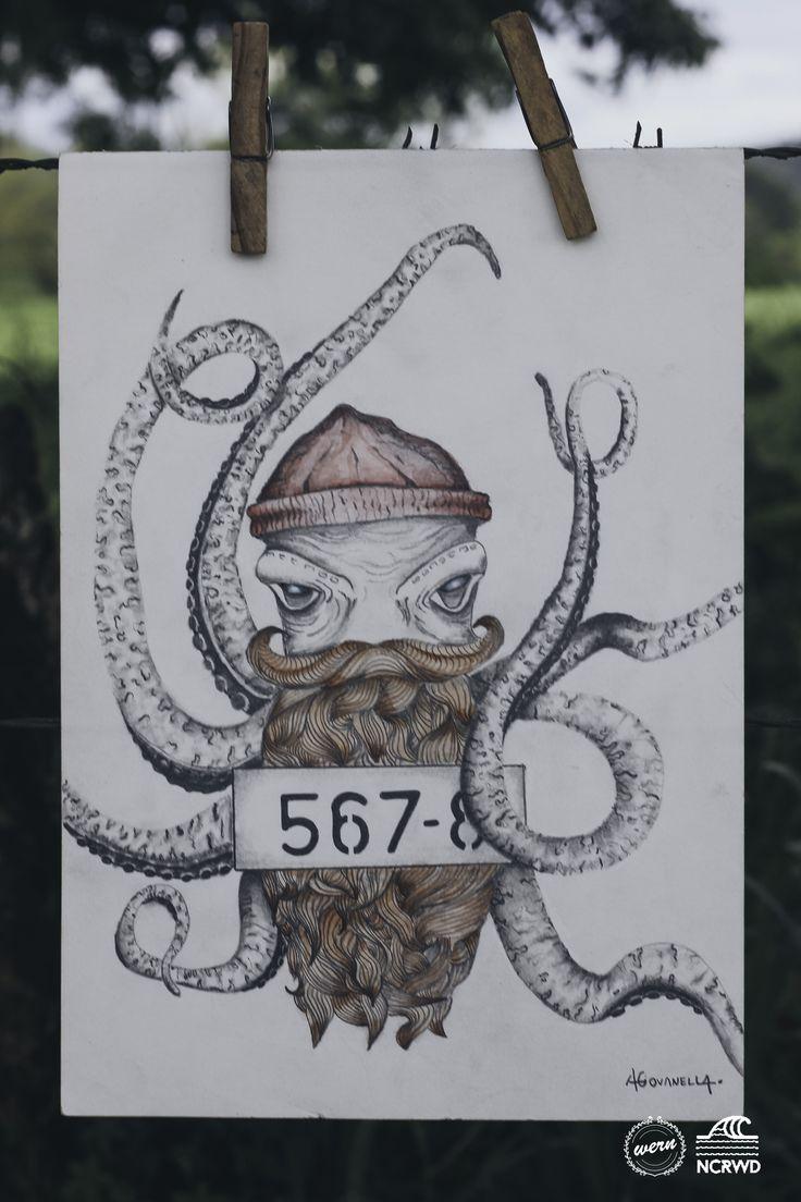 Octopus Beard - Aquarela, Lápis