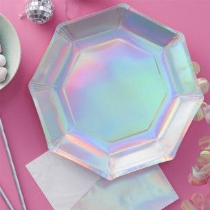 Iridescent Paper Party Plates - New In - Party Supplies