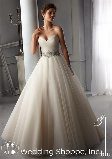 Feel like a princess in this beautiful tulle ball gown wedding dress. Blu by Mori Lee 5276