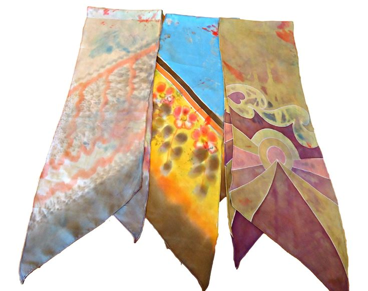 3 Vintage Scarf Art Scarf  Scarf Long Ladies Scarves Abstract   D28 by treasurecoveally on Etsy
