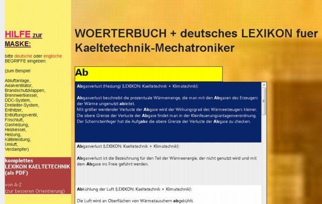 Lexikon-update: Erklaerungen + deutsch-englisch Woerterbuch-Kaelteanlagenbau (Heizung-Klima-Sanitaer
