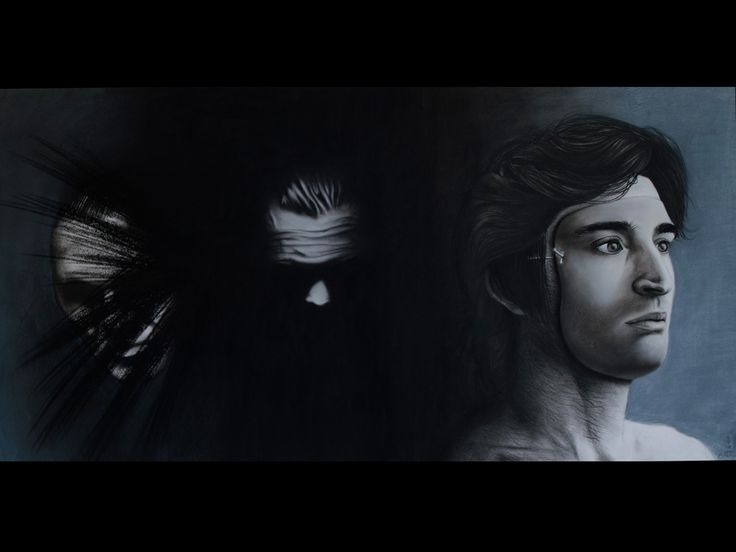 Composition of three people (pencil and pastel on paper)