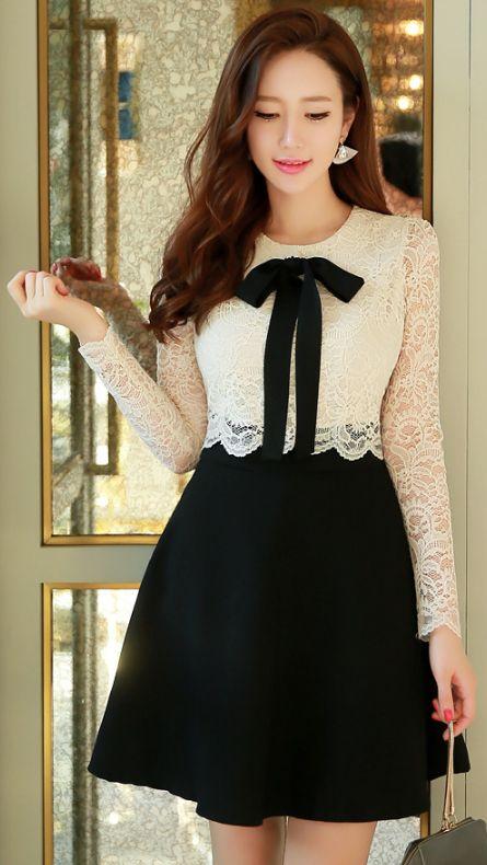 StyleOnme_Ribbon Tie Romantic Lace Flared Dress #blackandwhite #lace #feminine #ribbon #dress #koreanfashion #springtrend #seoul #kstyle #dress