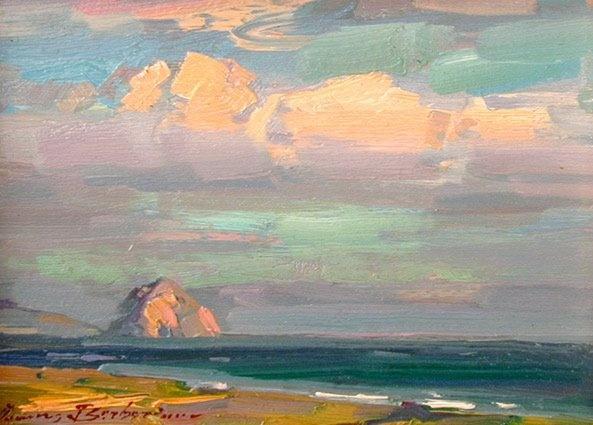 Morro Bay Evening Clouds by Ovanes Berberian . Morro Bay, California