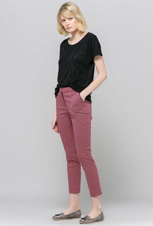 W2019 Spodnie W Dwukolorowe Kropeczki Materialowe Odziez Emonnari Fashion Harem Pants Pants