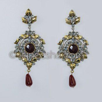 Resplendent Brass American Diamond Earrings
