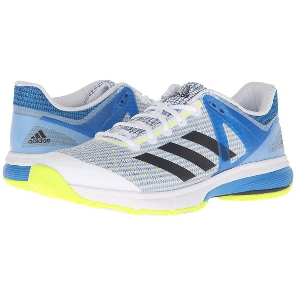 adidas Court Stabil 13 (White/Black/Shock Blue) Men's Volleyball Shoes ($90) ❤ liked on Polyvore featuring men's fashion, men's shoes, men's sneakers, mens blue sneakers, black white mens dress shoes, mens blue shoes, mens lace up shoes and mens sneakers