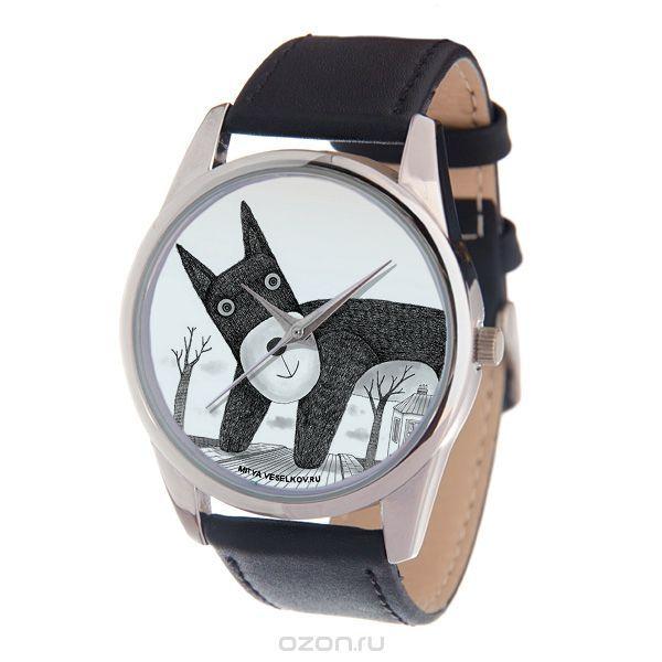 Часы наручные женские Mitya Veselkov Плюшевый пес, цвет: серебряный, черный, белый. MV-200