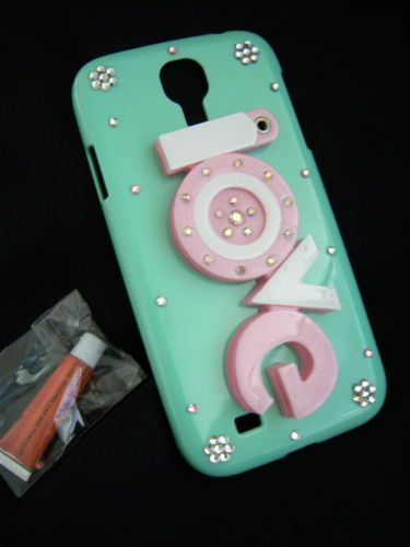 Samsung Galaxy S4 Phone Case LOVE Mint Green w mirror in USA FREE SHIP