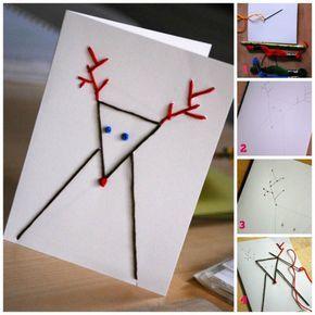 Tarjetas de Navidad originales hechas a mano con puntadas 4 Más