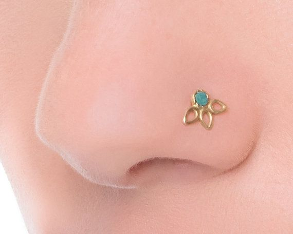 14k Gold Nose Stud Flower Nose Stud Nose Jewelry by StudioMeme