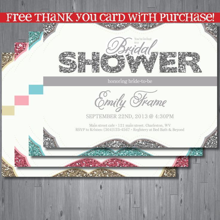 Sparkle bridal shower Invitation rehearsal by AbbyReeseDesign