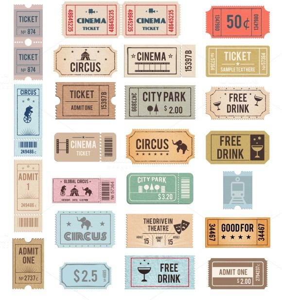 Vector Vintage Tickets Objects On Creative Market