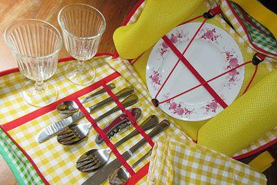 farbenfrohe Picknicktasche